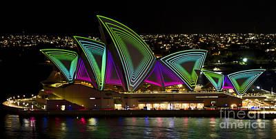 Photograph - Time Tunnel Sails - Sydney Vivid Festival - Sydney Opera House by Bryan Freeman
