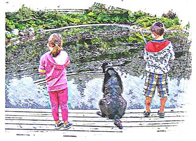 Timeless Activities - Trouting - Children - Summer Fun Print by Barbara Griffin