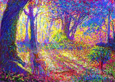 Multi Colored Painting - Deer And Dancing Shadows by Jane Small