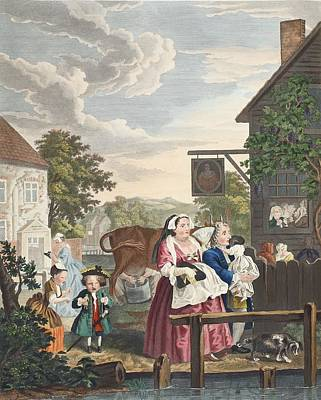 Village Scene Drawing - Times Of Day, Evening, Illustration by William Hogarth