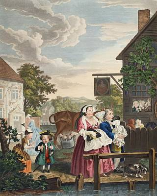 Village Scene Drawing - Times Of The Day Evening, Illustration by William Hogarth