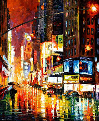 Times Square - Palette Knife Oil Painting On Canvas By Leonid Afremov Original by Leonid Afremov