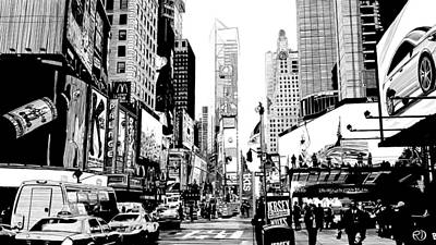 Cosmopolitan Drawing - Times Square by Robin DaSilva