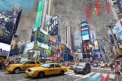 Times Square Digital Art - Times Square Street Creation by Delphimages Photo Creations