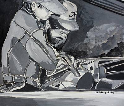 Baseball Cap Painting - Timing Is Everything - Father Son Art by Julie Brugh Riffey