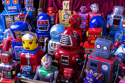 Tin Toy Robots At The Ready Print by Garry Gay