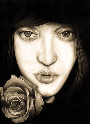 Self Portrait Drawing - Tina Ayres by Fred Larucci