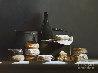 Donuts Painting - Tins And Donuts by Larry Preston