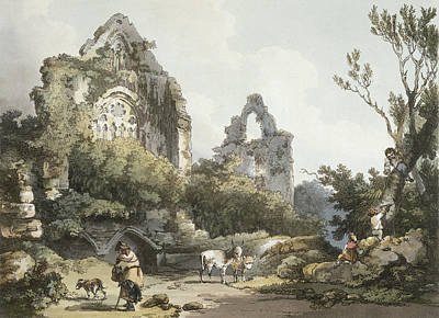 Playing Drawing - Tintern Abbey, From The Romantic by Philippe de Loutherbourg