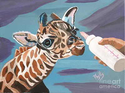 Baby Giraffe Painting - Tiny Baby Giraffe With Bottle by Phyllis Kaltenbach