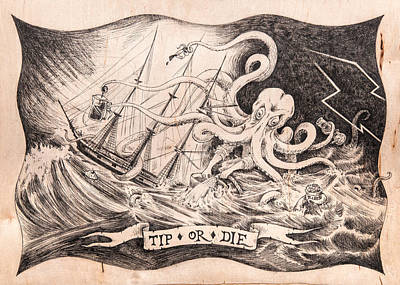 Scrimshaw Drawing - Tip Or Die by Canis Canon