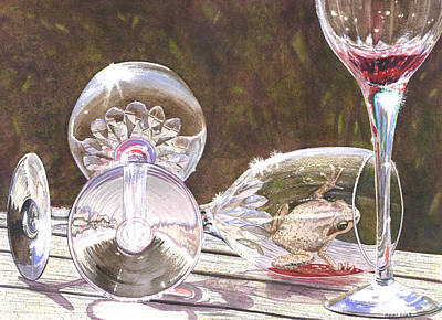 Wine Glasses Painting - Tipsy by Catherine G McElroy