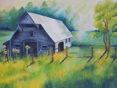 Smokey Mountains Painting - Tipton Barn Cades Cove Tn by Golanv  Waya