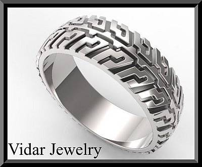 Statement Ring Jewelry - Tire Tread Mens Wedding Band In 925 Sterling Silver by Roi Avidar