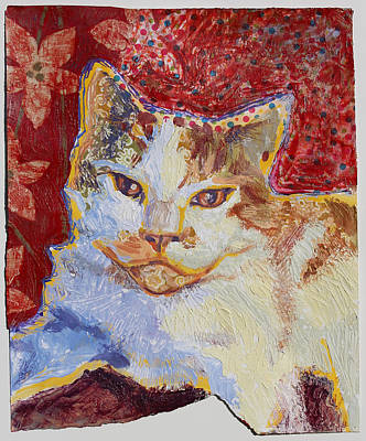 Orange Tabby Mixed Media - Tired Kitty by Yvonne Gaudet