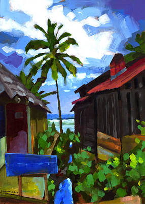 Coconut Painting - Tiririca Beach Shacks by Douglas Simonson