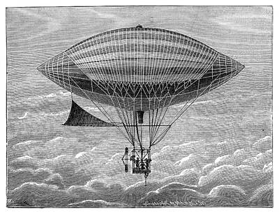 Tissandier Electric Airship Print by Science Photo Library