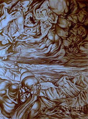 Luminous Drawing - Titan In Desert by Mikhail Savchenko