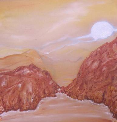 Titan -saturn Vi Midnight By A Methane Lake Print by Nicla Rossini