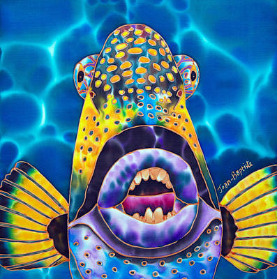 Tropical Fish Painting - Titan Triggerfish by Daniel Jean-Baptiste