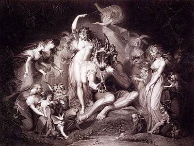 Donkey Drawing - Titania, Bottom And The Fairies, Act 4 by Henry Fuseli