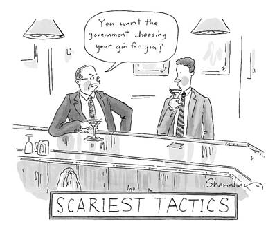 Martini Drawing - Title: Scariest Tactics.  Two Men Are Drinking by Danny Shanahan
