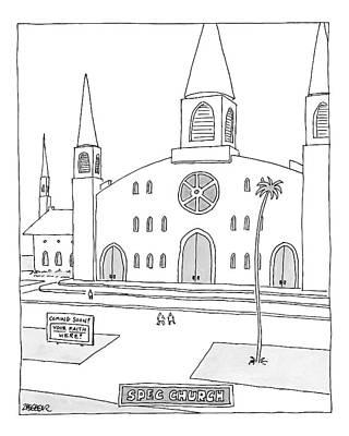 Title: Spec Church. A Billboard Outside A Church Print by Jack Ziegler