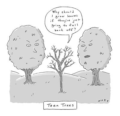 Teenagers Drawing - Title: Teen Trees by Kim Warp