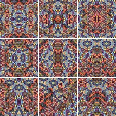 Different Stuff Painting - T J O D Mandala Series Puzzle 1 Variations 1-9 by Helena Tiainen