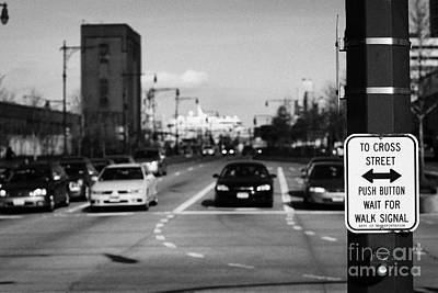to cross street push button wait for walk signal sign 12th Avenu new york city Print by Joe Fox
