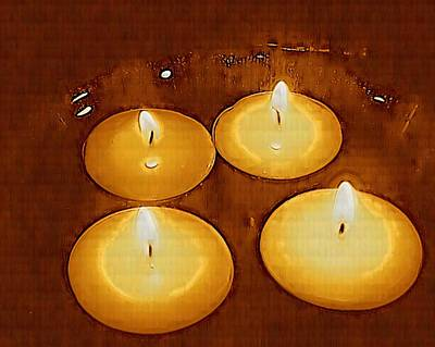 Candle Lit Mixed Media - To Light Up The Dark For Peace by Pepita Selles