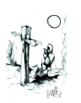 Mercy Drawing - To The Ground God Bless You by Jon Baldwin  Art