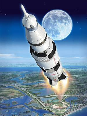 Armstrong Digital Art - To The Moon Apollo 11 by Stu Shepherd