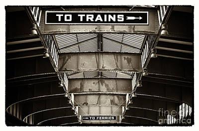 To Trains Print by John Rizzuto