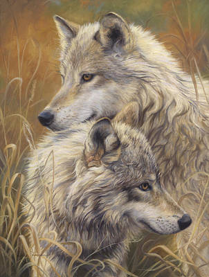 Gray Wolf Painting - Together by Lucie Bilodeau