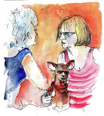 Old Friends Drawing - Together Old In Spain 05 by Miki De Goodaboom
