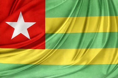 Togo Flag Print by Les Cunliffe