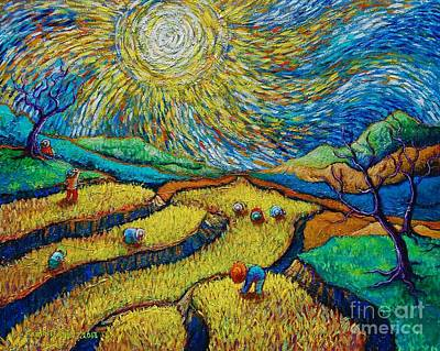 Toil Today Dream Tonight Diptych Painting Number 1 After Van Gogh Print by Paul Hilario