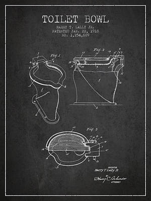 Washrooms Digital Art - Toilet Bowl Patent From 1918 - Charcoal by Aged Pixel
