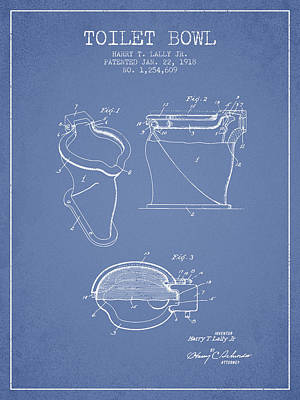 Washrooms Digital Art - Toilet Bowl Patent From 1918 - Light Blue by Aged Pixel