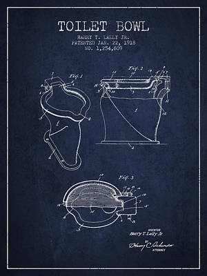 Washrooms Digital Art - Toilet Bowl Patent From 1918 - Navy Blue by Aged Pixel