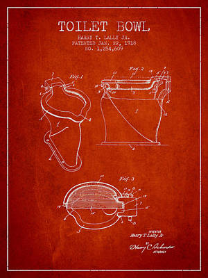 Washrooms Digital Art - Toilet Bowl Patent From 1918 - Red by Aged Pixel