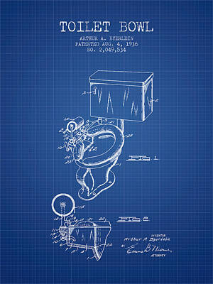 Toilet Bowl Patent From 1936 - Blueprint Print by Aged Pixel