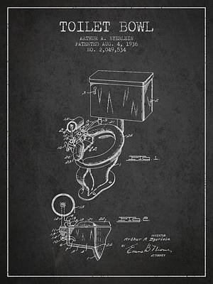 Washrooms Digital Art - Toilet Bowl Patent From 1936 - Charcoal by Aged Pixel