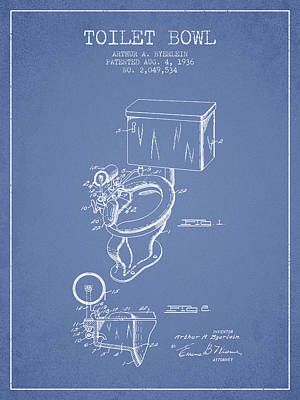 Washrooms Digital Art - Toilet Bowl Patent From 1936 - Light Blue by Aged Pixel