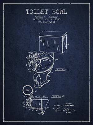 Washrooms Digital Art - Toilet Bowl Patent From 1936 - Navy Blue by Aged Pixel