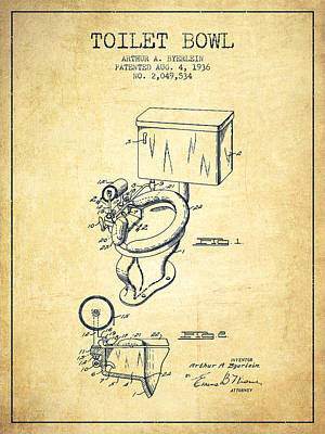 Plum Drawing - Toilet Bowl Patent From 1936 - Vintage by Aged Pixel