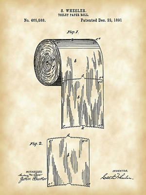 Stall Digital Art - Toilet Paper Roll Patent 1891 - Vintage by Stephen Younts