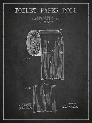 Tissue Art Drawing - Toilet Paper Roll Patent Drawing From 1891 - Dark by Aged Pixel