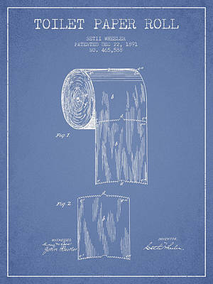 Tissue Art Drawing - Toilet Paper Roll Patent Drawing From 1891 - Light Blue by Aged Pixel